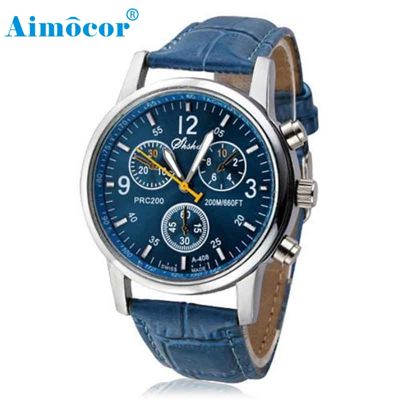 2017 Newly Designed HOT New Luxury Fashion Crocodile Faux Leather Mens Analog Watch Watches Blue Gift 322 Z1026