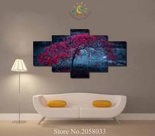 3-4-5 Pieces Autumn Red Tree Modern Wall Art Pictures HD Printed Canvas Painting Modular Paints Home Decoration