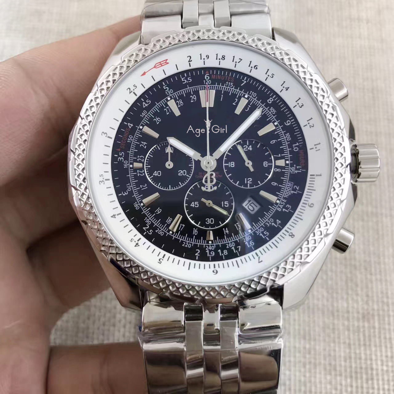 Luxury Brand New Men Chronograph Stopwatch Watch Black Blue White Leather Stainless Steel Sapphire Limited Watches AAA+
