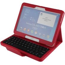 Teclado sin hilos de Bluetooth + Cuero de LA PU Cubierta Elegante Del Caso Protector Para Samsung Galaxy Tab 4 10.1 T530 T531 T535 + regalo