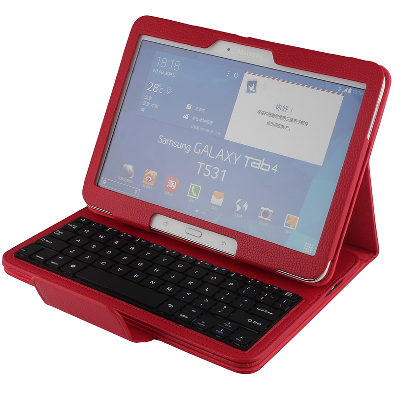 Wireless Bluetooth Keyboard +PU Leather Cover Protective Smart Case For Samsung Galaxy Tab 4 10.1 T530 T531 T535 + Gift