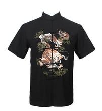 Free Shipping!!! Chinese Tradition Style Men's Black Dragon Pattern Kung Fu Short Sleeve Shirts M-L-XL-XXL-3XL LD36
