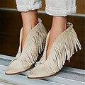 Sexy Frente V Mulheres Pontas Do Dedo Do Pé Aberto Ankle Boots Grosso Alta saltos Mulheres Bombas de Deslizamento Em Borlas Franjas Botas Mujer Botas de Verão