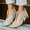 Sexy Front V Open Women Pointed Toe Ankle Boots Thick High Heels Slip On Tassels Women Pumps Fringed Botas Mujer Summer Booties