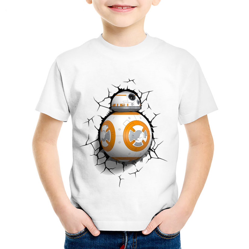 ZSIIBO Children Boys Girls BB-8 On The Move Print Funny T Shirt Baby Star Wars Design T-shirt Kids Summer White Casual Clothes