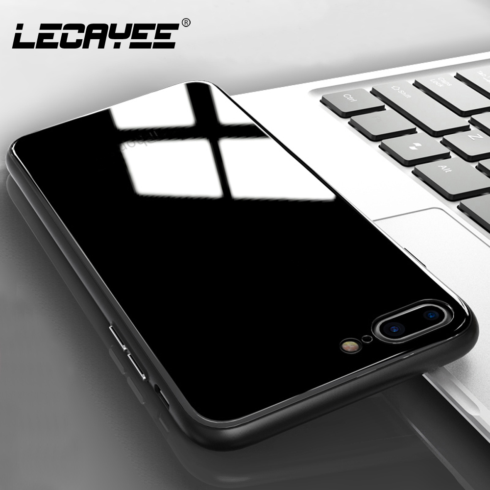 For iPhone 6 7 8 Case Back Tempered Glass Cover For iPhone 7 8 X 6S Plus Phone Case Soft Silicone Frame Phone protective Case