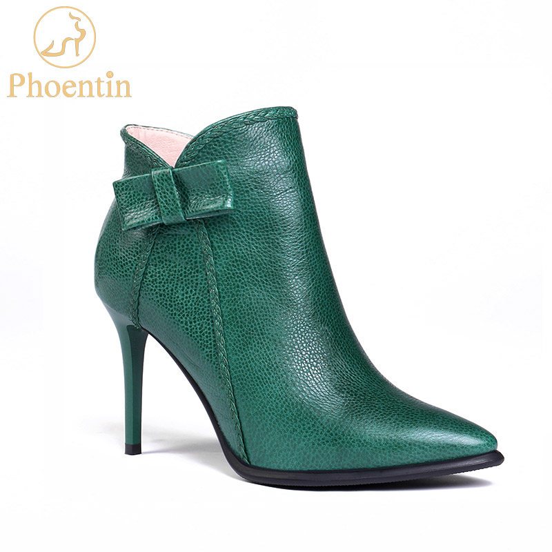 Phoentin nature leather stiletto boots women 2019 pointed toe high heels 8cm butterfly knot ankle boots