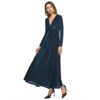 Culb Sukienka Kobiety Wysokiej Jakości Aksamitu Długa Plisowana Głębokie V Neck Maxi Vestidos Kobiety Boże Narodzenie Sukienka Hurtownie
