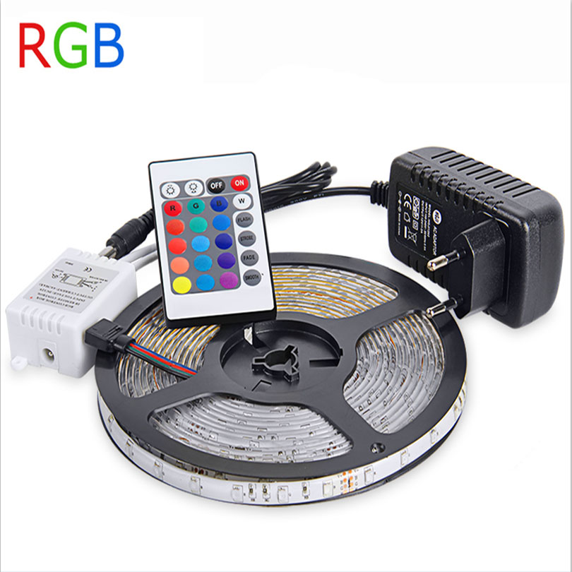 IP65 Waterproof RGB LED Strip Light 5m SMD3528 Flexible Lights LED Ribbon Tape Lamp DC12V +IR Remote Controller+Power Adapter 2A