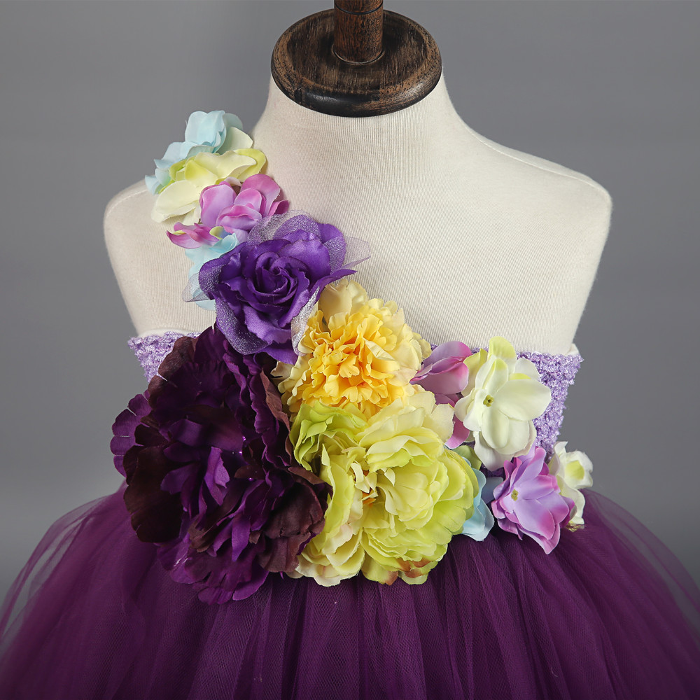 dd040bc72d17 Children Girls Wedding Flower Girl Dresses Ivory,Purple Flower Fairy Tutu  Dress Princess Girl Pageant Party Gown Dress for Kids-in Dresses from  Mother ...