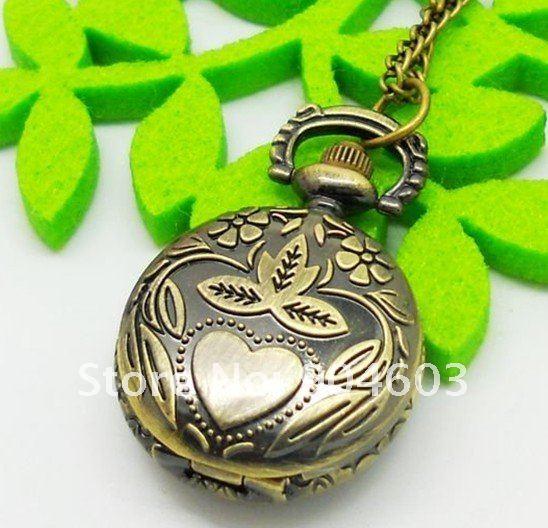 3005) 12 шт./партия винтажный Викторианский стиль античное Сердце кварцевые карманные часы ожерелье, подвеска, цепочка. Вечерние подарок