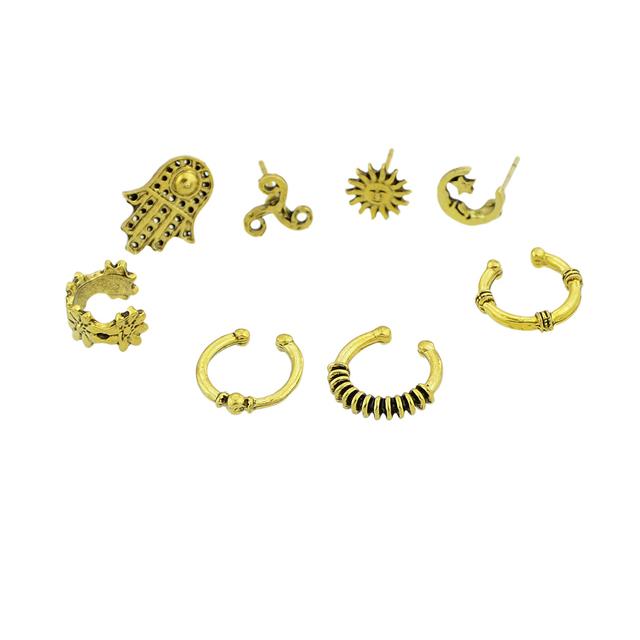 Boho Islamic Style Star Moon Jewish Hamsa Earrings Studs