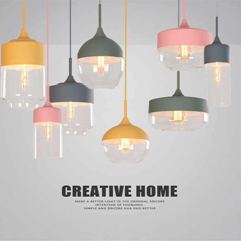 Nordic Modern loft hanging Glass Pendant Lamp E27 E26 LED Pendant lights Restaurant Bar Loft Coffee Pendant Industrial Light modern pendant lights spherical design white aluminum pendant lamp restaurant bar coffee living room led hanging lamp fixture