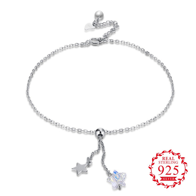 fe9247601 Kalapure Sterling Silver Aurora Crystal Anklet Bracelets Star Starfish  Beads Leg Bracelet for Women Girls Beach Foot Jewelry