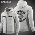 RASMEUP 2016 High Quality Sons Of Anarchy Hoodie New Men Screen Printed Samcro Sitcoms Jax Thickening Fleece Sweatshirt
