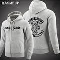 RASMEUP 2016 High Quality Sons Of Anarchy Hoodie New Men Screen Printed Samcro Sitcoms Jax Thickening Fleece Sweatshirt