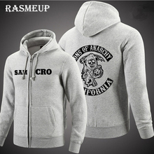 RASMEUP 2016 Hohe Qualität Sons Of Anarchy Hoodie Neue Männer Siebdruck Samcro Sitcoms Jax Verdickung Fleece-Sweatshirt