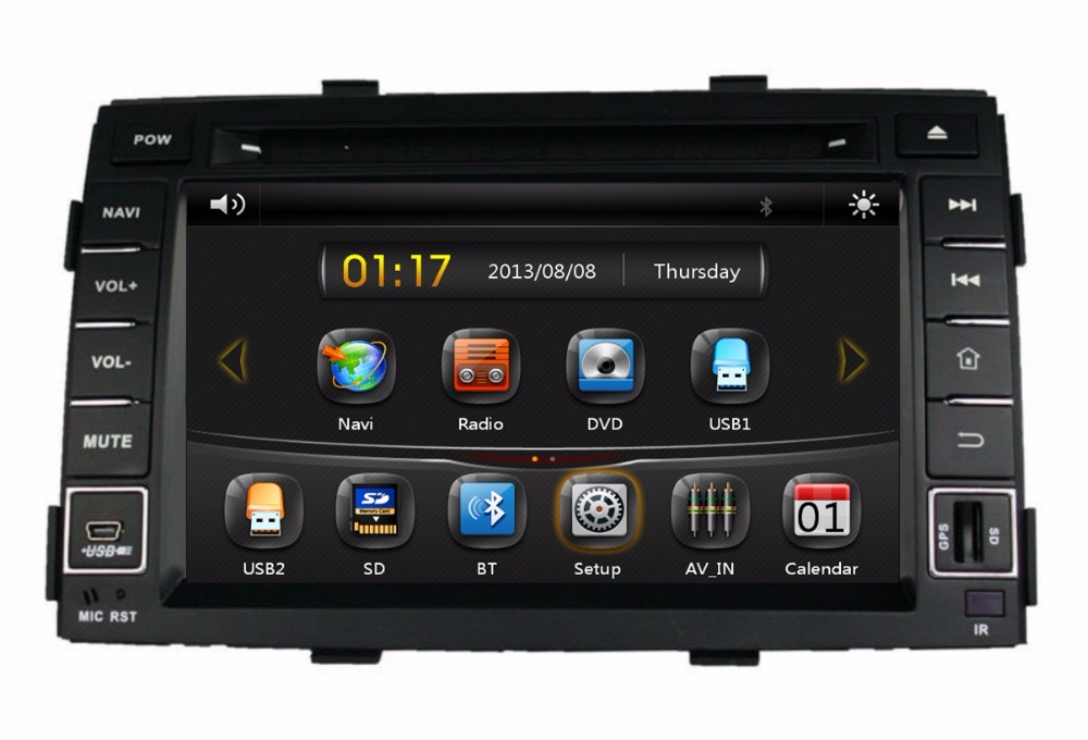 HD 2 din 8″ Car DVD GPS Navigation for Kia SORENTO 2011 2012 With USB Bluetooth IPOD TV Radio /RDS SWC AUX IN