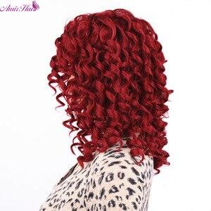 Image 2 - 아미르 헤어 짧은 가발 합성 변태 곱슬 머리 가발 중간 레드 블랙과 금발 색상 여성용 가발 내열성