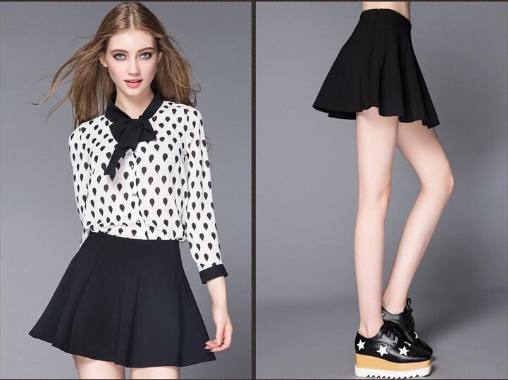 customize 2015 Spring Summer Women Plus Size Roman Cloth splicing pleated simple A line Skirt elegant all match mini Skirts 36cm