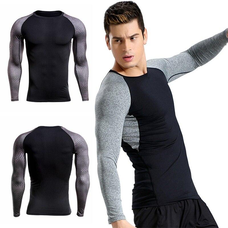 2017 Männer Schweiß Geschwindigkeit Trockene Kleidung Langarm T-shirt Runde Kragen Schnell Trocknende Atmungsaktiv Fitness Running T-shirts Aromatischer Geschmack