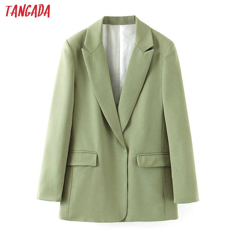 Tangada Suit Blazer Elegant Green-Blazer Autumn Collar Notched Long-Sleeve Female Fashion