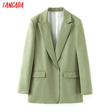 Tangada fashion green blazer for female korea chic autumn long sleeve notched co