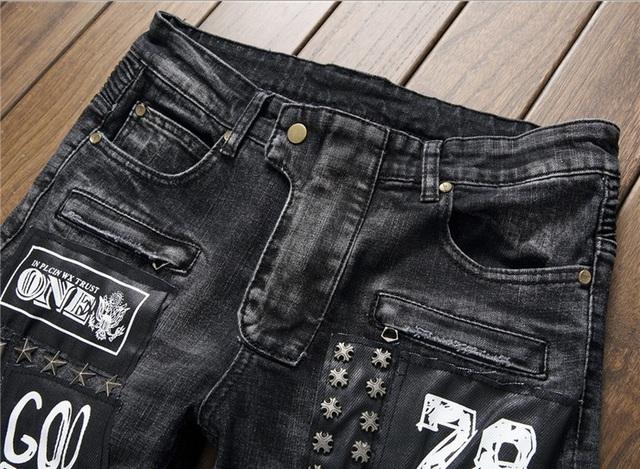 European American Style Hommes de jeans slim denim pantalon Droite marque de luxe mode hommes noir Patchwork Plissée jeans pantalon