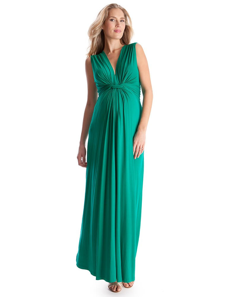 Deep V Front Knot Long Maternity Maxi Dress Ankle Length Wedding ...
