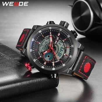 WEIDE גברים ספורט מזדמן עמיד למים קוורץ דיגיטלי תאריך מעורר הכרונוגרף אמיתי עור רצועת יד שעונים Reloj Hombre relogio