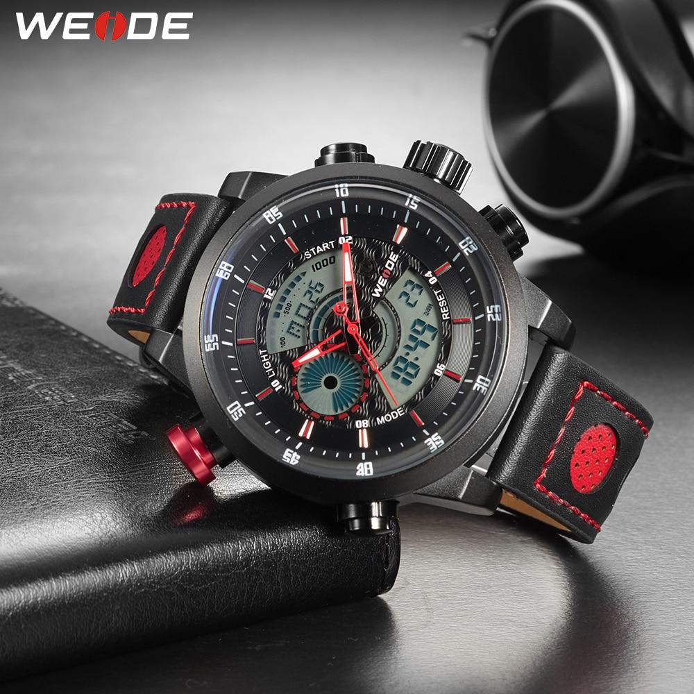 WEIDE Men Sport Casual Waterproof Quartz Digital Date Alarm Chronograph Genuine Leather Strap Wrist Watches Reloj Hombre relogio