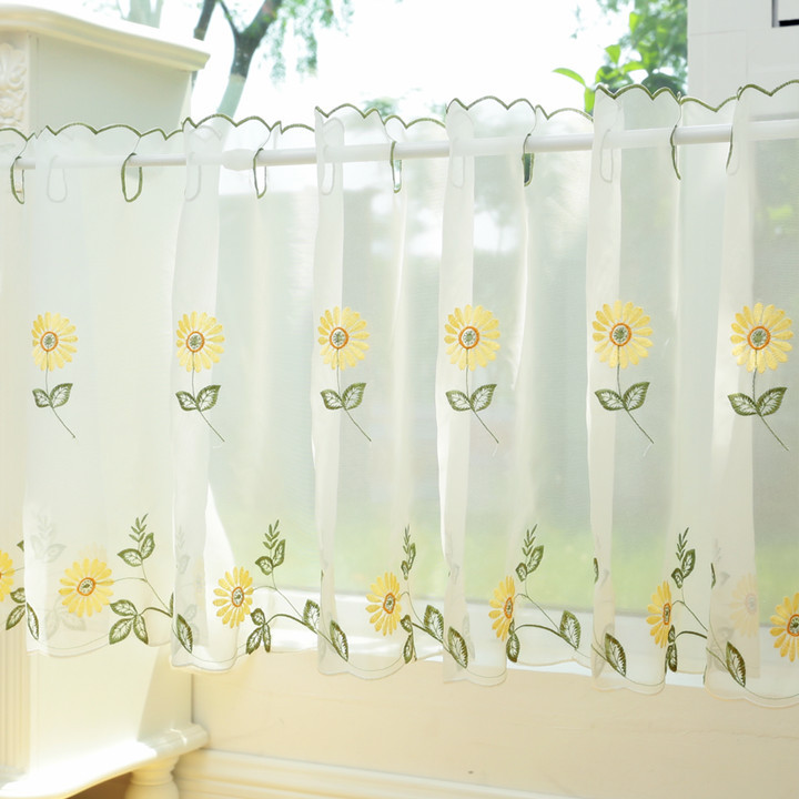 White Sheer Curtain, Embroidery Sunflower Half Cafe Curtain, Sheer Rural  Daisy Window Curtain, Unique Kitchen Curtain Valances