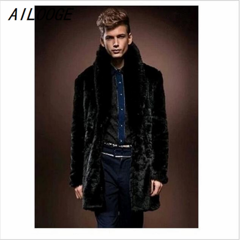 AILOOGE 2015 New Style In Winter , Men's Fake Fur Mink Coat ,Thicker Coats, Long Section And British Style/Free Shipping HZ133