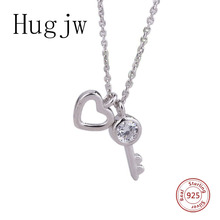 hot sale sterling silver 925 key lock your heart necklace in jewelry pendant necklace with CZ chain fashion jewelry for women pendant lily skull skeleton 925 sterling silver to men punk heart jewelry fashion rebel thomas key chains pendant fit necklace