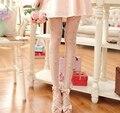 Japão Estilo Doce Floral Calças Justas 2 Cores Meninas Fina Flor Do Vintage Meia-calça