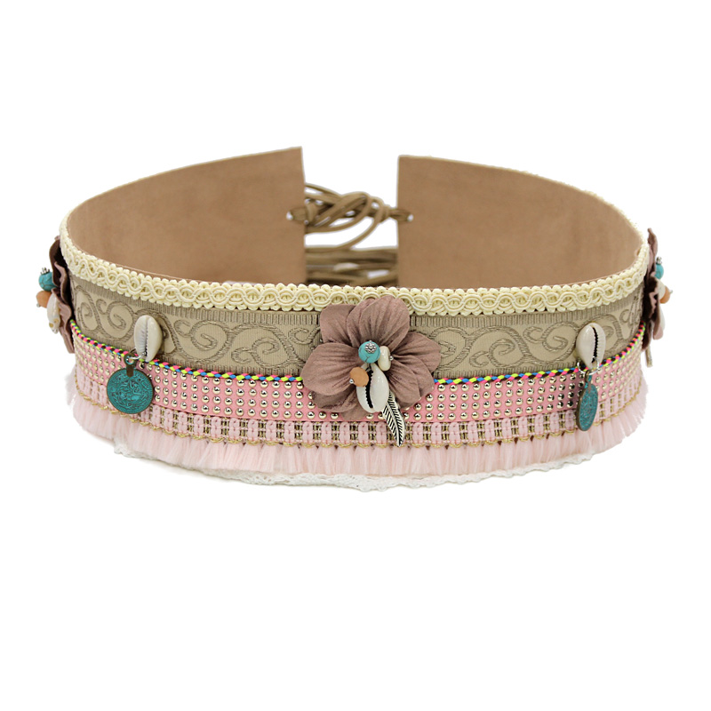 Woman Waist Belt Fashion Bohemian Handmade Lace Embroidery Fabric Flower Accessories Shell Bead Decoration Belts For Mujer Dress
