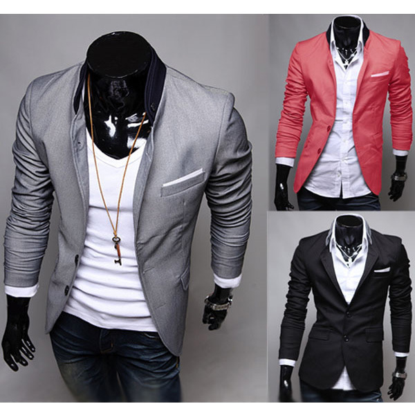 Mens Casual Clothes Slim Fit Stylish Suit Blazer Coats
