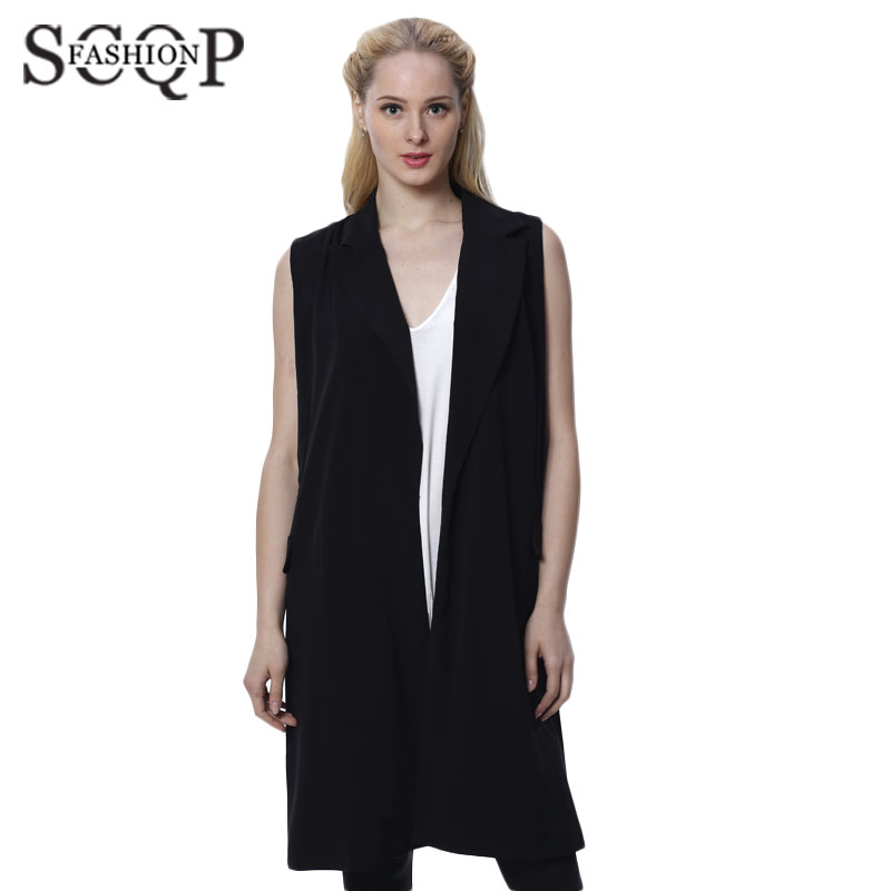 SCQP Solid Black Women Vest Coat Pockets Office Casual Slim Womens Waistcoat Sleeveless Spring Style Linen Women's Vests Winter