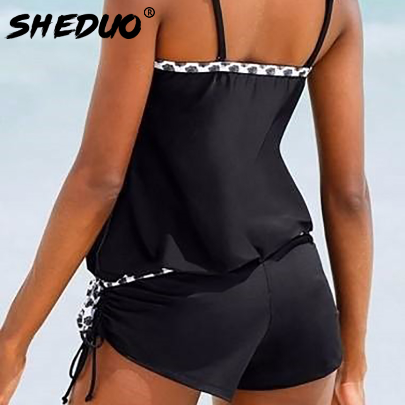 2017 new conservative strap bordered two-piece swimsuit