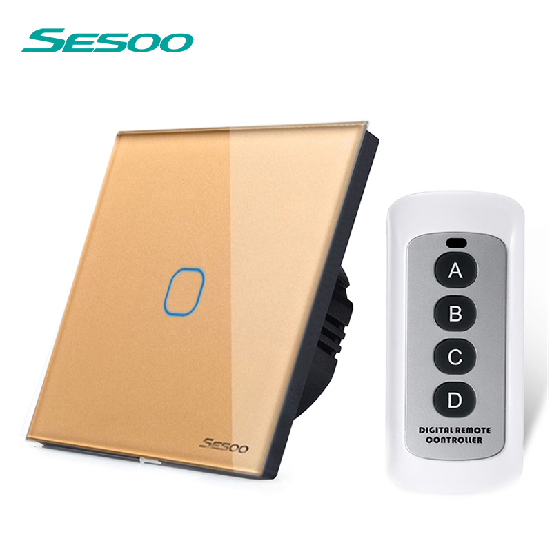 sesoo EU/UK Standard 1 Gang 1 Way RF433 Remote Control Touch Wall Switch, Wireless Remote Control Light Switches for Smart Home smart home uk standard crystal glass panel wireless remote control 1 gang 1 way wall touch switch screen light switch ac 220v