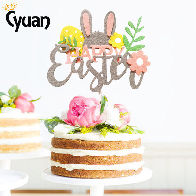 Easter Cupcake Toppers- Rabbit Letter Flowers -Easter decor items