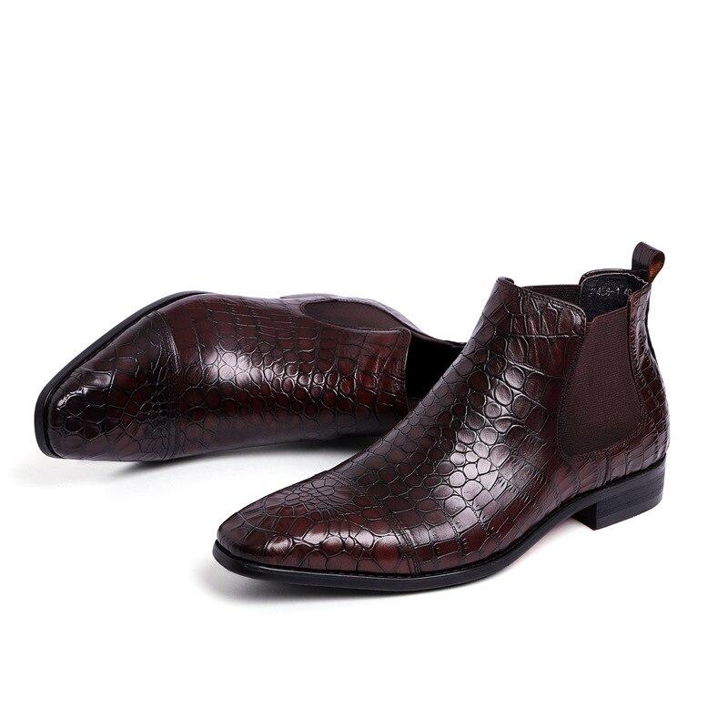 Alta Hombre Cuero Tobillo Puntiagudo Black Negocios Pie Chelsea Masculino En Botas Calidad Calzado Slip Genuino De Zapatos brown Dedo Del 7Exdq7