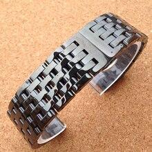 Hermoso Diseño de la Nueva Llegada Negro 20mm Correa de Reloj Venda de reloj de Pulsera de Acero Inoxidable Pulsador Correa extremo Recto