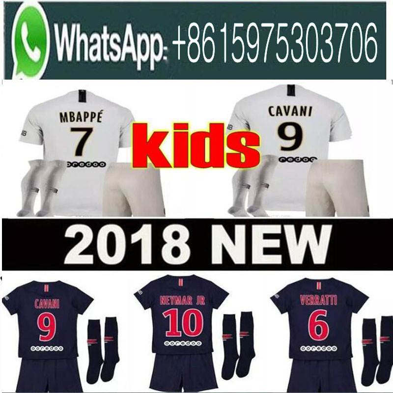 2019 Paris kids kit soccer Jerseys 18 19 mbappe home away VERRATTI CAVANI DI MARIA MAILLOT DE FOOT child survetement psg kid(China)
