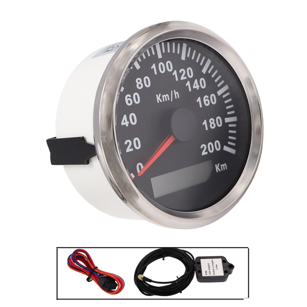 85mm Waterproof GPS Speedometer Gauge 200 / 120km/h Speed Meter for Car Motorcycle Boat Stainless Speedometer With Red Backligt 100% brand new gps speedometer 60knots for auto boat with gps antenna white color