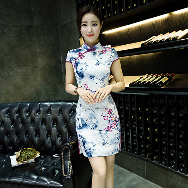824434fd269d3 Modern Chinese Traditional Dress Mini Qipao Sexy Cheongsam Flower Robe  Chinoise Femme Vintage Oriental Dresses Qi Pao Rayon HM