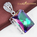 Fashion Queen party jewelry square rainbow mystic Created topaz pendants silver dangle pendant nacklace