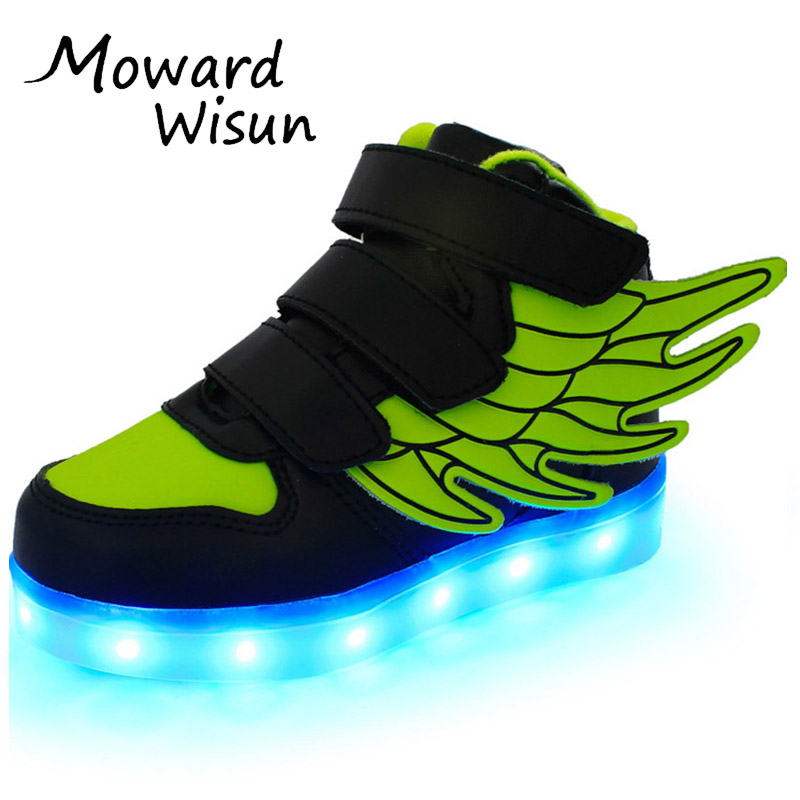Children LED Shoes Baskets Boys Girls Glowing Luminous Neakers with Light Sole Enfant Kids Light Up Sneakers LED Slippers 30 chaussure lumineuse enfant fille garcon led children shoes with light up wings girls boys fashion kd sneakers zapatillas boots