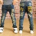 Nueva moda niños jeans con letra de la impresión 2016 otoño del resorte de buena calidad de los niños de jean para la edad 3 4 5 6 7 8 9 11 12 13 años de edad B080