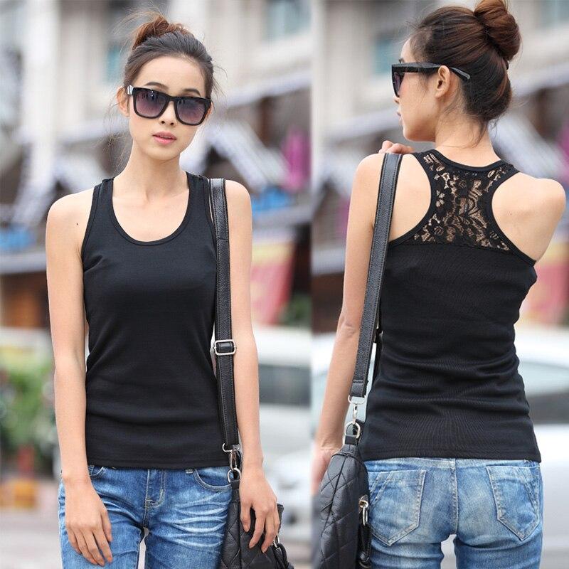 Free Shipping Ladies 2013 Korea Summer Plus Size Spaghetti Strap Vest Basic Lace Loose Tank Tops